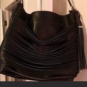 NEW Black Tassel Strip Hobo Handbag Roomy 14x16